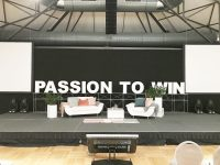 Bühne PASSION TO WIN frontal: Event Agentur creative Drummer, Berlin